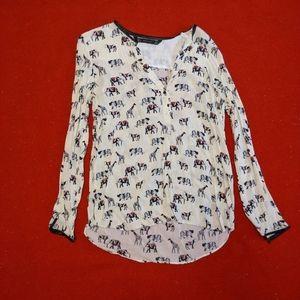 Semi-sheer printed blouse